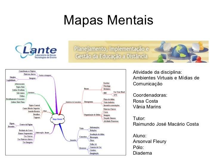 Mapas Mentais Atividade da disciplina:  Ambientes Virtuais e Mídias de Comunicação Coordenadoras: Rosa Costa Vânia Marins ...