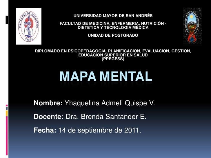 UNIVERSIDAD MAYOR DE SAN ANDRÉS <br />FACULTAD DE MEDICINA, ENFERMERIA, NUTRICIÓN - <br />DIETETICA Y TECNOLOGÍA MÉDICA <b...