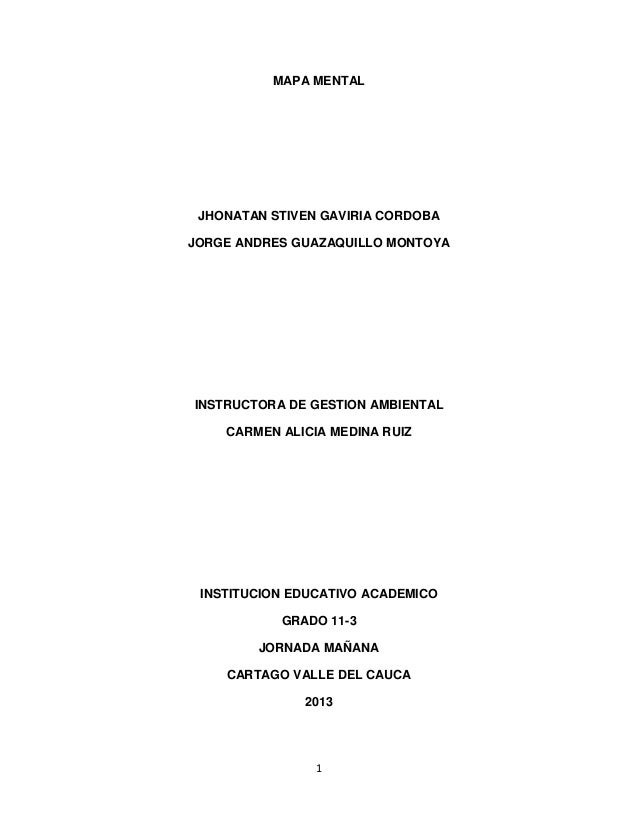 1 MAPA MENTAL JHONATAN STIVEN GAVIRIA CORDOBA JORGE ANDRES GUAZAQUILLO MONTOYA INSTRUCTORA DE GESTION AMBIENTAL CARMEN ALI...