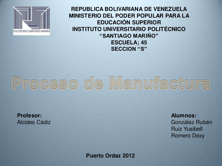 REPUBLICA BOLIVARIANA DE VENEZUELA                MINISTERIO DEL PODER POPULAR PARA LA                         EDUCACIÓN S...