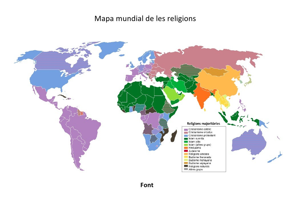 Mapa mundial de les religions             Font