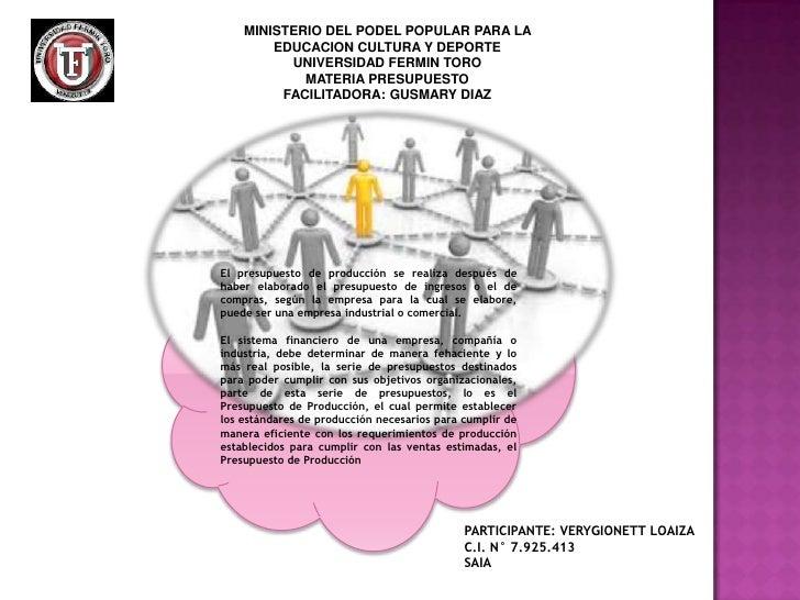 MINISTERIO DEL PODEL POPULAR PARA LA        EDUCACION CULTURA Y DEPORTE          UNIVERSIDAD FERMIN TORO            MATERI...