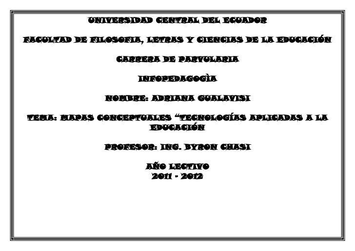 UNIVERSIDAD CENTRAL DEL ECUADORFACULTAD DE FILOSOFIA, LETRAS Y CIENCIAS DE LA EDUCACIÓN                CARRERA DE PARVULAR...
