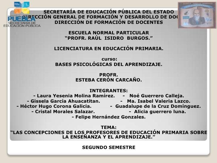 SECRETARÍA DE EDUCACIÓN PÚBLICA DEL ESTADO   DIRECCIÓN GENERAL DE FORMACIÓN Y DESARROLLO DE DOCENTES             DIRECCIÓN...