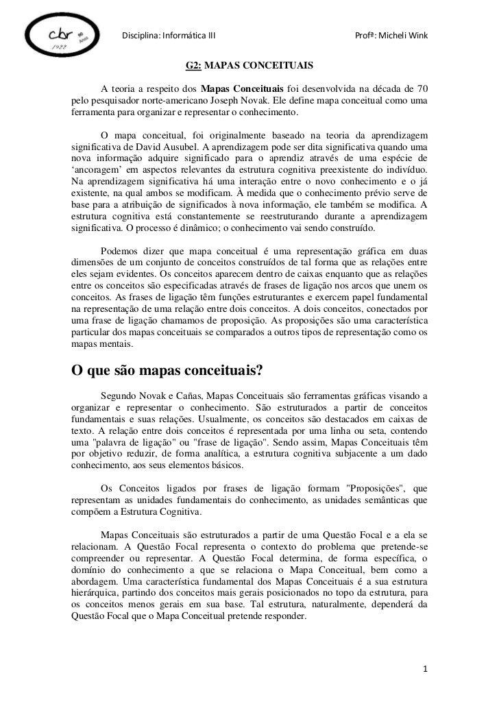 Disciplina: Informática III                              Profª: Micheli Wink                              G2: MAPAS CONCEI...