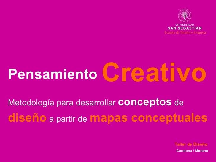 Pensamiento Metodolog ía para desarrollar  conceptos  de   diseño   a partir de   mapas conceptuales Creativo Carmona / Mo...