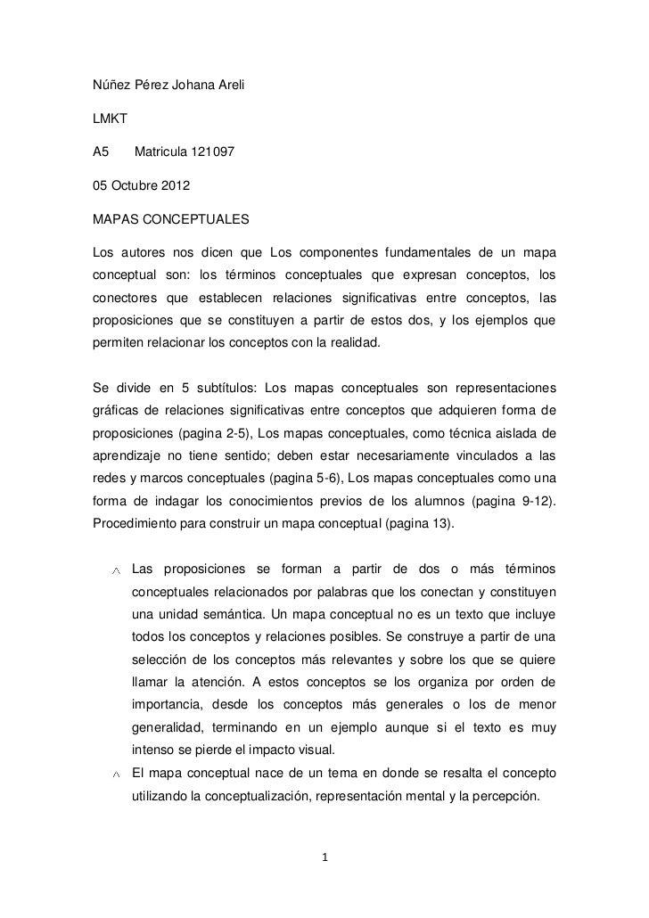 Núñez Pérez Johana AreliLMKTA5     Matricula 12109705 Octubre 2012MAPAS CONCEPTUALESLos autores nos dicen que Los componen...