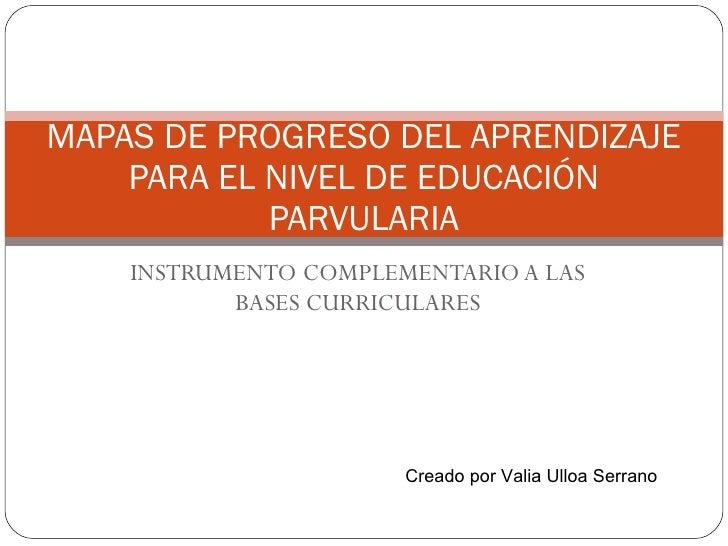 INSTRUMENTO COMPLEMENTARIO A LAS BASES CURRICULARES MAPAS DE PROGRESO DEL APRENDIZAJE PARA EL NIVEL DE EDUCACIÓN PARVULARI...