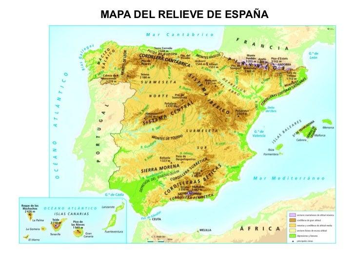 MAPA DEL RELIEVE DE ESPAÑA