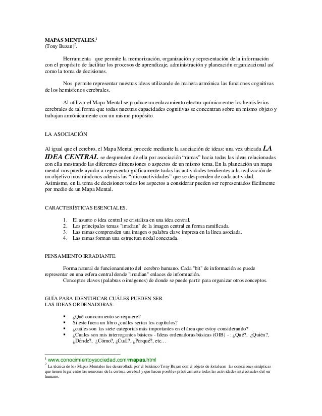 MAPAS MENTALES.1 (Tony Buzan)2 . Herramienta que permite la memorización, organización y representación de la información ...