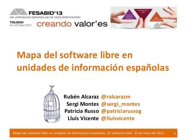 Mapa del software libre enunidades de información españolas1Mapa del software libre en unidades de información españolas. ...