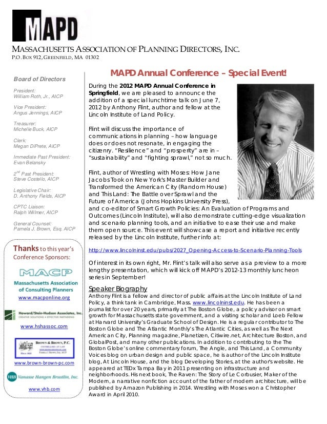 MASSACHUSETTS ASSOCIATION OF PLANNING DIRECTORS, INC.P.O. BOX 912, GREENFIELD, MA 01302MAPD Annual Conference – Special Ev...