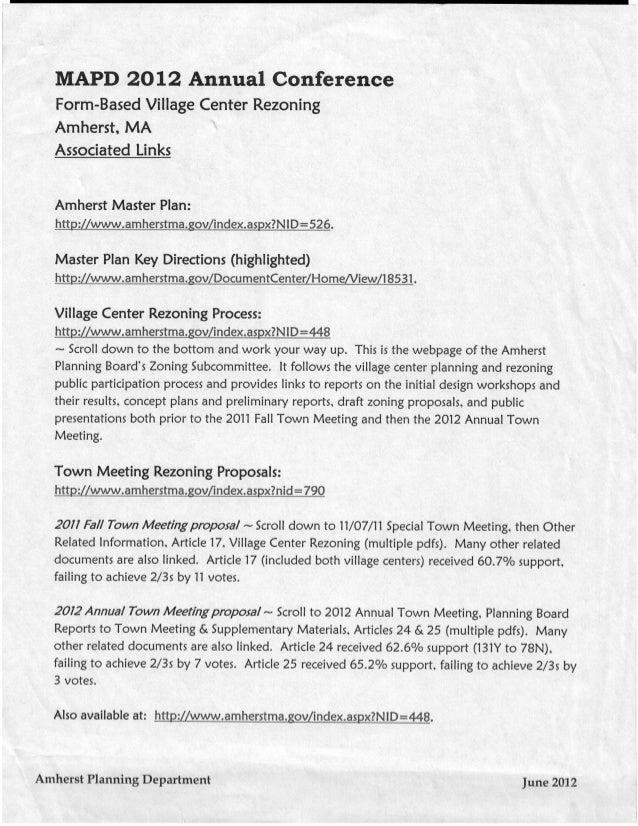 Innovative Zoning Amherst Village Center Form-Based Rezoning Handout