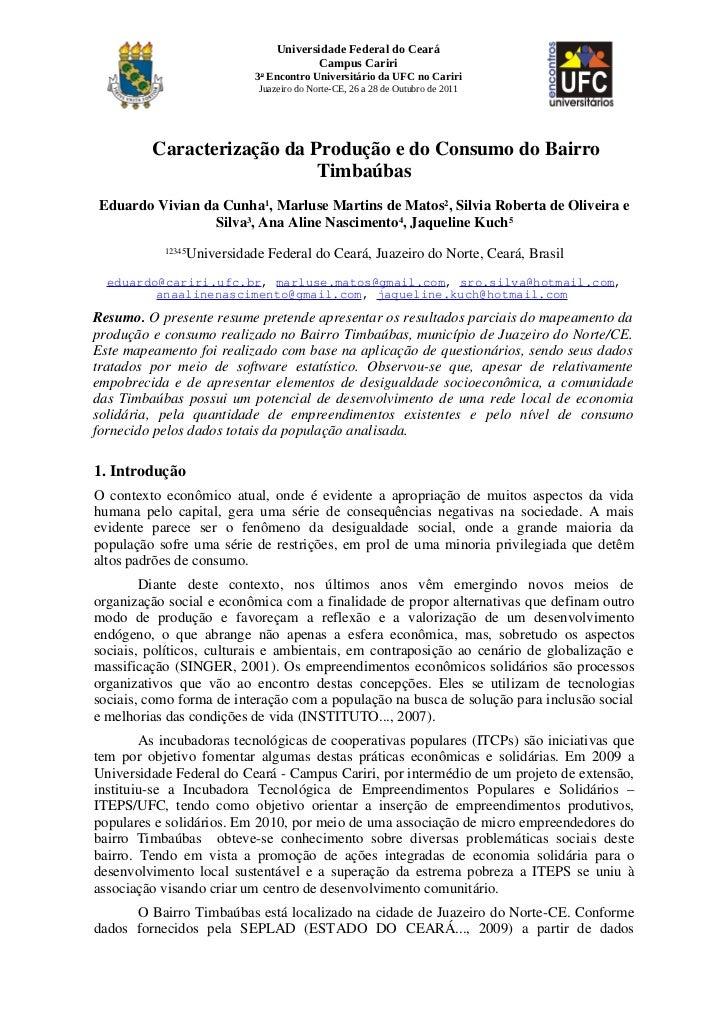 Universidade Federal do Ceará                                       Campus Cariri                           3o Encontro Un...