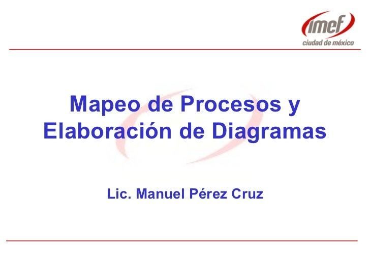 Mapeo de Procesos y Elaboración de Diagramas Lic. Manuel Pérez Cruz