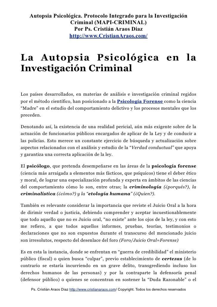 MODELO DE AUTOPSIA PSICOLÓGICA INTEGRADO PARA LA INVESTIGACIÓN CRIMINAL - Ps. Cristian Araos Diaz