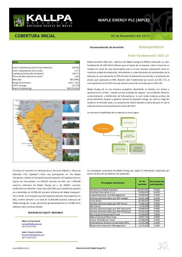 DIVISION DE EQUITY RESEARCH Alberto Arispe Bazán aarispe@kallpasab.com Telf: 511 627-5225 Javier Frisancho Salinas jfrisan...