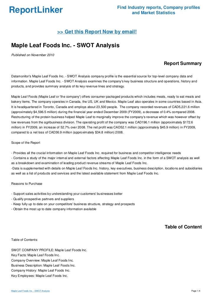Maple Leaf Foods Inc. - SWOT Analysis