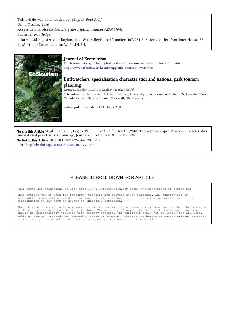 journal of ecotourism volume 11 march 2012