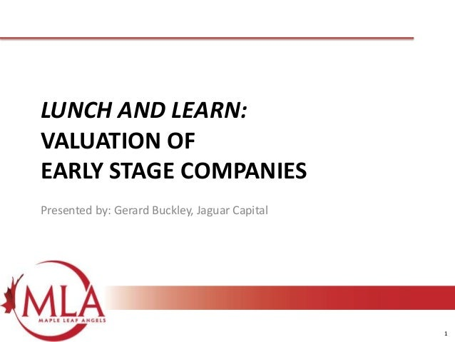 1 LUNCH AND LEARN: VALUATION OF EARLY STAGE COMPANIES Presented by: Gerard Buckley, Jaguar Capital