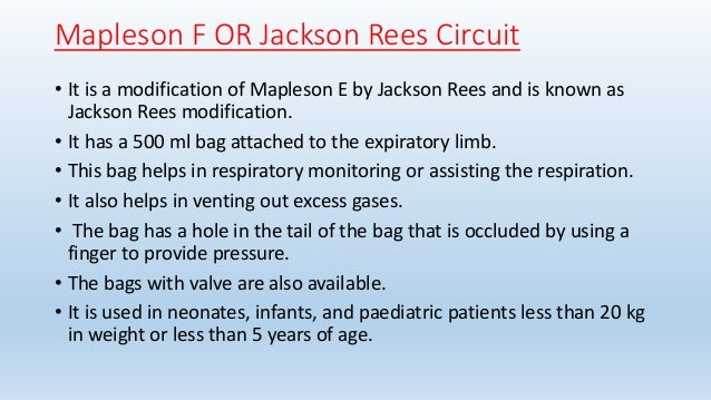 Circuito Jackson Rees : Mapleson breathing systems