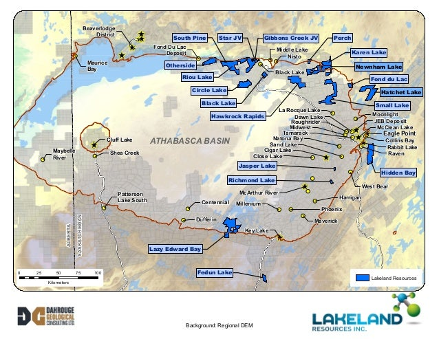 Map of the Athabasca Basin Uranium Projects of Lakeland Resources (July 2014)