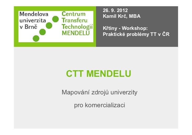 26. 9. 2012              Kamil Krč, MBA              Křtiny - Workshop:              Praktické problémy TT v ČR CTT MENDEL...