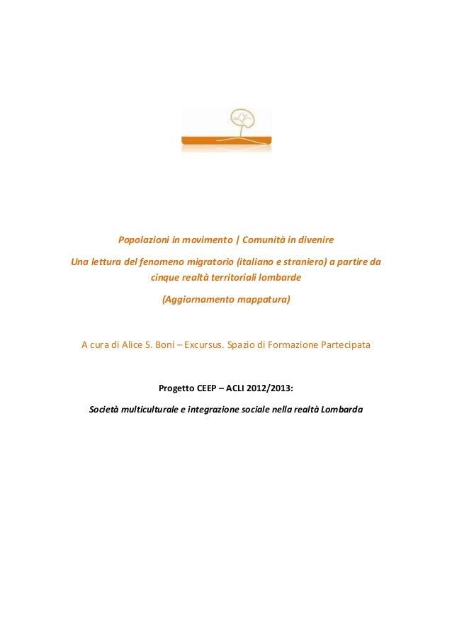 Popolazioni in movimento | Comunità in divenireUna lettura del fenomeno migratorio (italiano e straniero) a partire da    ...