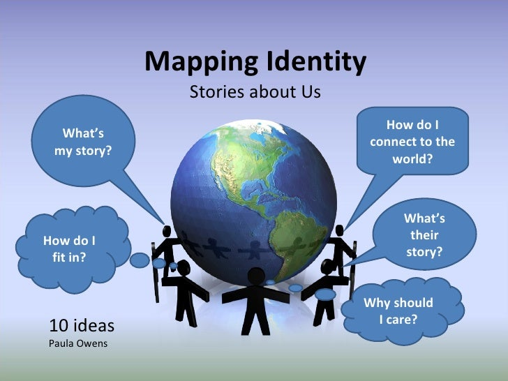 Mapping Identity Stories about Us What's my story? How do I fit in? How do I connect to the world? What's their story? Why...