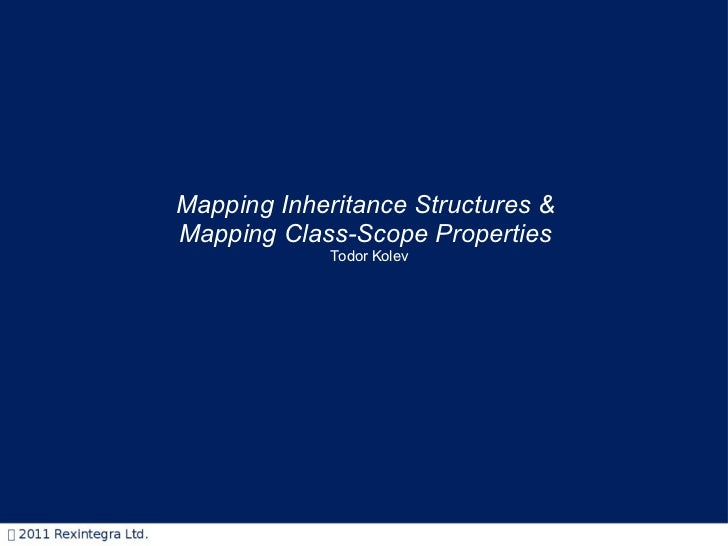 Mapping Inheritance Structures &  Mapping Class-Scope Properties   Todor Kolev