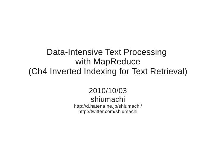 Data-Intensive Text Processing with MapReduce ch4