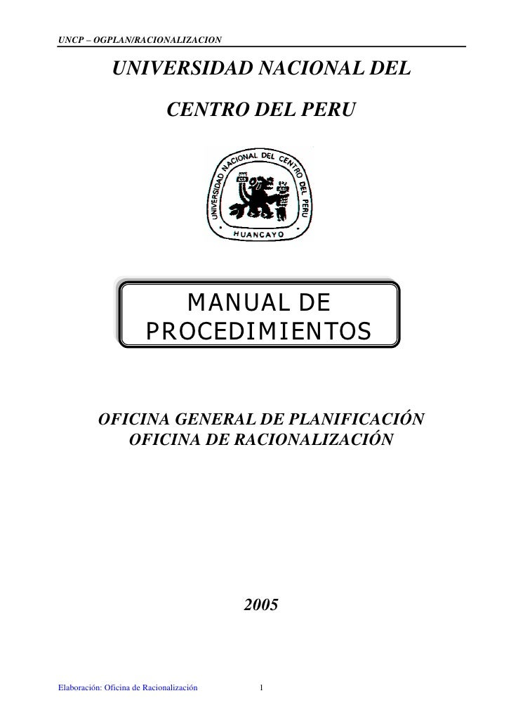 UNCP –OGPLAN/RACIONALIZACION               UNIVERSIDAD NACIONAL DEL                              CENTRO DEL PERU          ...