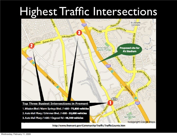 Highest Traffic Intersections     Wednesday, February 11, 2009
