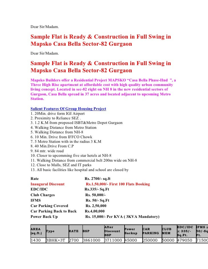 Dear Sir/Madam.  Sample Flat is Ready & Construction in Full Swing in Mapsko Casa Bella Sector-82 Gurgaon Dear Sir/Madam. ...