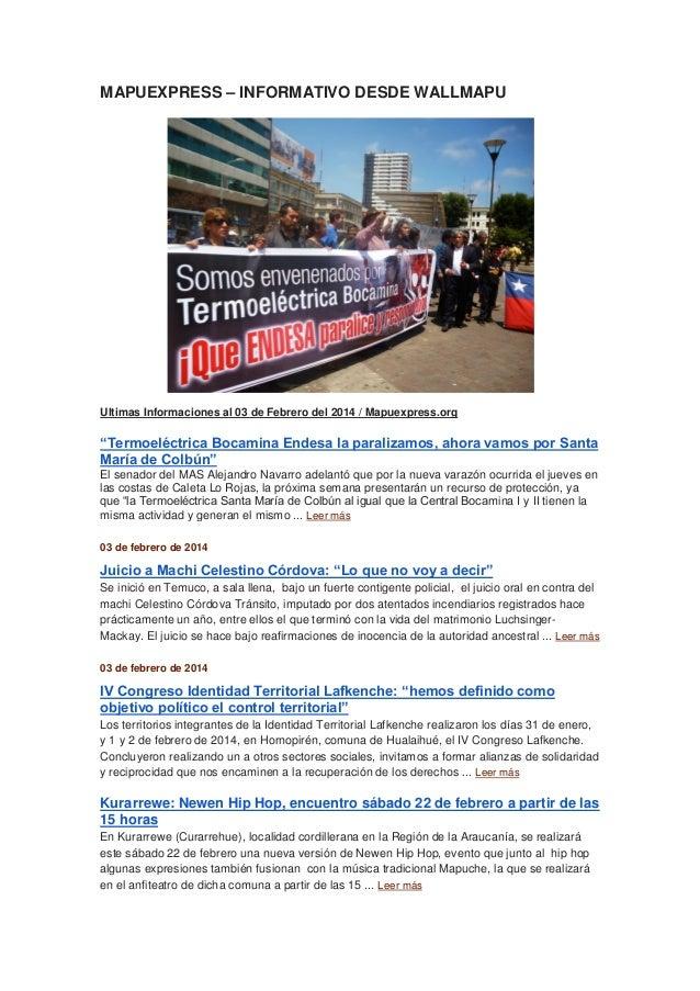 """MAPUEXPRESS – INFORMATIVO DESDE WALLMAPU  Ultimas Informaciones al 03 de Febrero del 2014 / Mapuexpress.org  """"Termoeléctri..."""