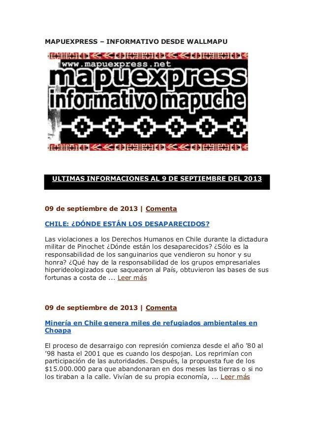 MAPUEXPRESS – INFORMATIVO DESDE WALLMAPU ULTIMAS INFORMACIONES AL 9 DE SEPTIEMBRE DEL 2013 09 de septiembre de 2013 | Come...