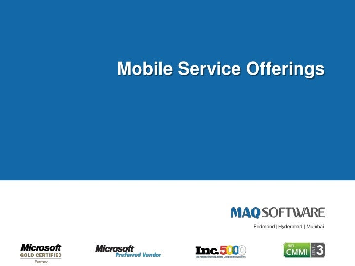 MAQ Software Mobile Service Offerings