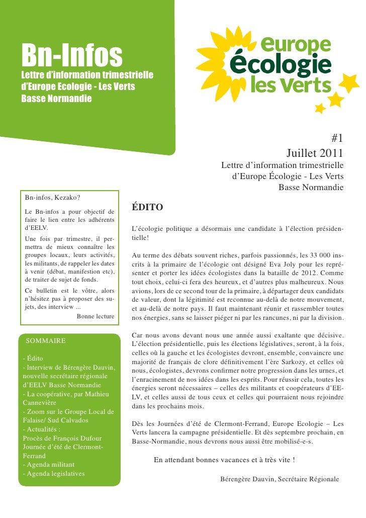 Bn-InfosLettre d'information trimestrielled'Europe Ecologie - Les VertsBasse Normandie                                    ...