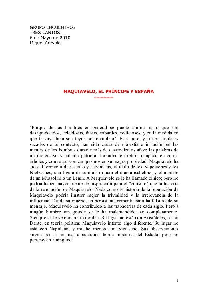 Maquiavelo. El Principe y España
