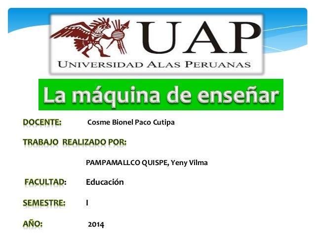 Cosme Bionel Paco Cutipa  PAMPAMALLCO QUISPE, Yeny Vilma  : Educación  I  2014
