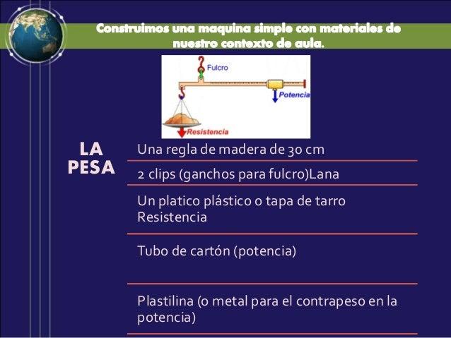 LA PESA Una regla de madera de 30 cm 2 clips (ganchos para fulcro)Lana Un platico plástico o tapa de tarro Resistencia Tub...