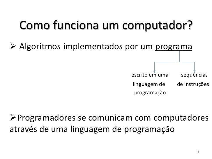 Como funciona um computador? Algoritmos implementados por um programa                           escrito em uma    sequênc...