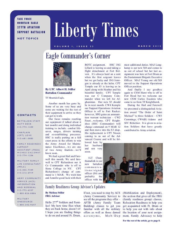 Liberty TimesTASK FORCEMOUNTAIN EAGLE277TH AVIATIONSUPPORT BATTALIONHOT TOPICS                            V O L U M E     ...