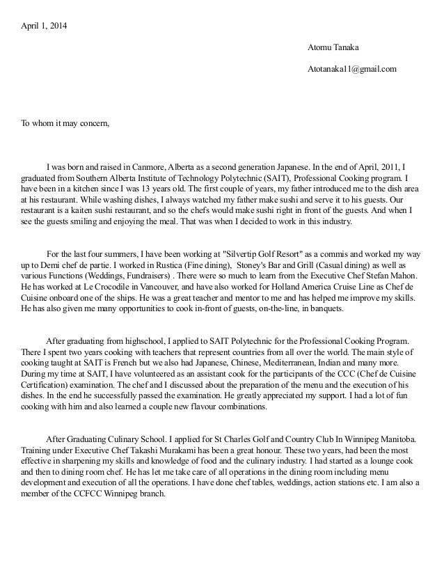 culinary cover letter