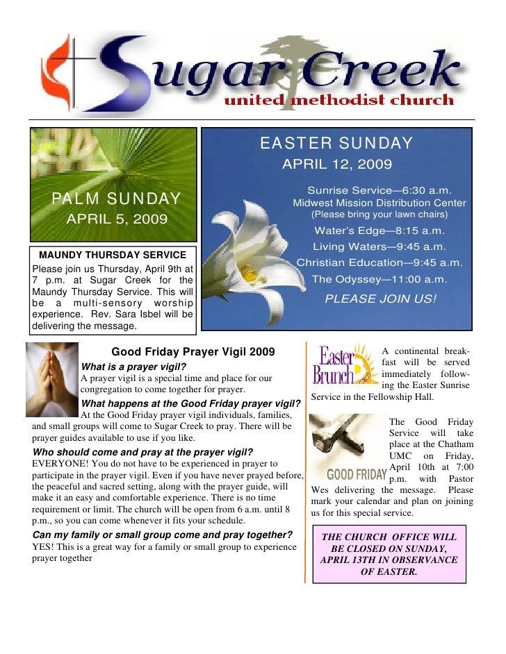 EA ST ER SU N DAY                                                                APRIL 12, 2009                           ...