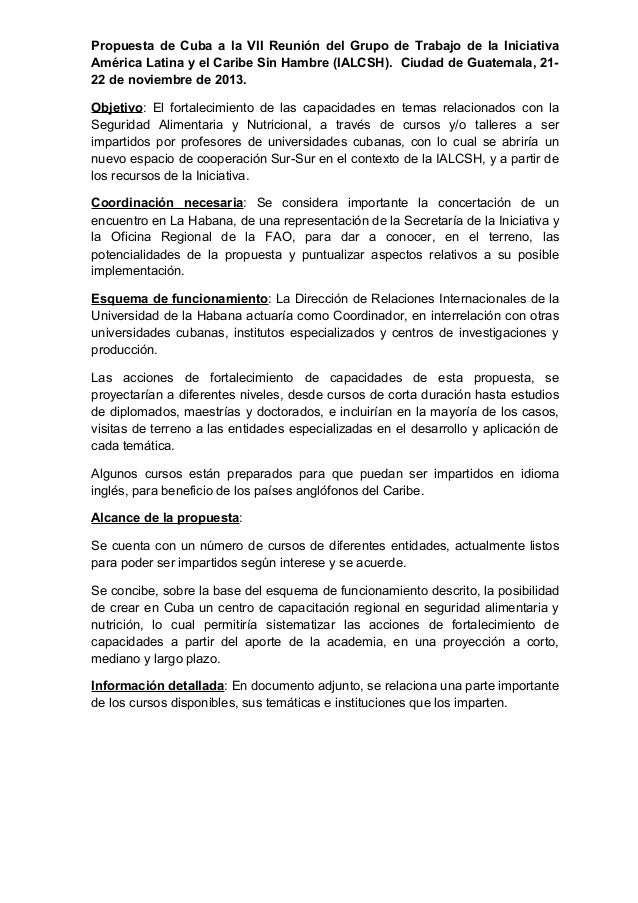 Propuesta de Cuba a la VII Reunión del Grupo de Trabajo de la Iniciativa América Latina y el Caribe Sin Hambre (IALCSH). C...