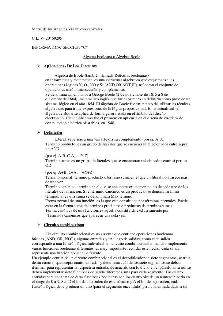 """María de los Ángeles Villanueva cañizalezC.I.: V- 20469295INFORMATICA/ SECCION """"C""""                               Algebra b..."""
