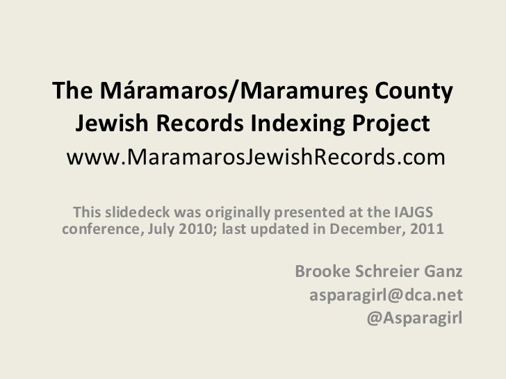 The Maramaros/Maramures Jewish Records Indexing Project