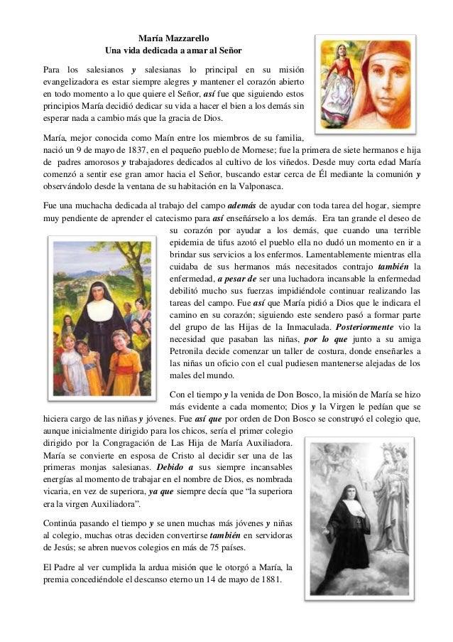 María MazzarelloUna vida dedicada a amar al SeñorPara los salesianos y salesianas lo principal en su misiónevangelizadora ...