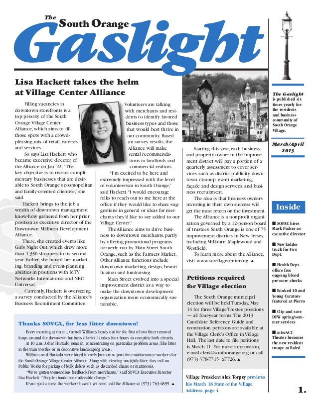 March/April 2013 edition of the South Orange Gaslight